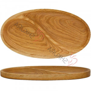 Oval wood serving dish Handmade Large wooden plate Serving oval dish  Hand carved Wood kitchen plate Wood snack plate 2 sections