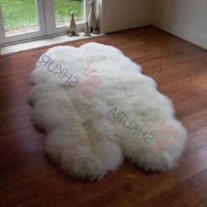 "White Genuine sheepskin rug 82"" x 43""  Natural Throw Ivory Very thick short fur rug Genuine leather Pelt Sheep skin decorative rug"