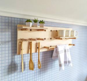 Pegboard display, pegboard organizer, plywood peg board shelf. Kitсhen pegboard. Bathroom pegboard. Entryway pegboard.