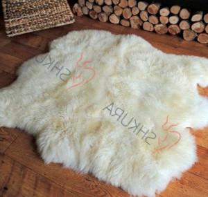 "White Genuine sheepskin rug 47"" x 43"" Beige Natural Throw Cream Very thick short fur rug Genuine leather Pelt Sheep skin decorative rug"