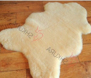 "Beige Natural Throw Very thick short fur rug Christmas gift  Genuine sheepskin rug 43"" x 30""  Genuine leather Pelt Sheep skin decorative rug"