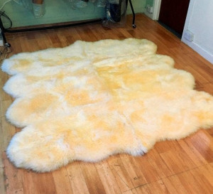"Natural Genuine sheepskin rug 90"" x 83"" Beige Natural Throw CreamVery thick short fur rug Genuine leather Pelt Sheep skin decorative rug"
