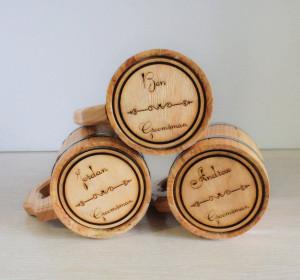Personalized Beer mug wooden 17 oz Custom gift Ash Wood solid Tankard with handle Metal hoops mug Wedding gift