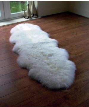"White Genuine sheepskin rug 82"" x 28"" Beige Natural Throw Cream Very thick short fur rug Genuine leather Pelt Sheep skin decorative rug"