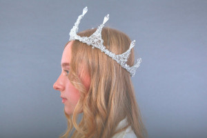Crown Arctic ice. Magic crown of glass beads. Tiara. Diadem. Wreaths. Сrystal beads. Head Accessory. Jewelry for the head.