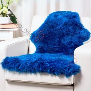 "Blue Genuine sheepskin rug short fur 43"" x 30""  Christmas gift Natural Throw Very thick rug Genuine leather Pelt Sheep skin decorative rug"