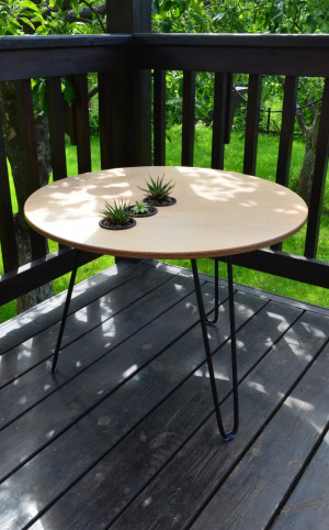 Plywood table, Round coffee table, table with hairpin legs
