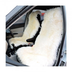 White Car seat cover merino sheepskin 2 pcs Car accessory for men Fur Seat cover for women Front seat cover for car Gift for her
