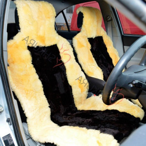 Black yellow sheepskin car seat cover 2 pcs Car accessory for men Fur Seat cover for women Merino Front seat cover for car Gift for him