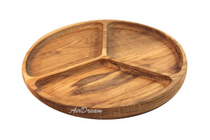 Serving dish with dividers Handmade wooden plate Large wooden serving dish Hand carved Wood kitchen plate Wood snack plate 3 sections
