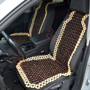 2 pcs Wood Front seat cover for car Dark Car seat cover Bead Car accessory set for women Gift for her Brown Car seat protector for men