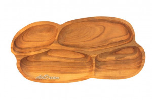 Serving dish with dividers Handmade wooden plate Large wooden serving dish Hand carved Wood kitchen plate Wood snack plate 4 sections