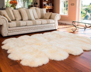 "Natural Throw Ivory Very thick short fur rug 83"" x 110""  White Genuine sheepskin rug Genuine leather Pelt Sheep skin decorative rug"