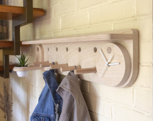 Peg rail with shelf and clock. Modern wall mounted coat and hat rack. Wood hanger. Shelf with hook. Shelf organizer. Entryway organizer.