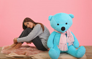 Big teddy bear. Tiffany color. Soft blue bear in a pink scarf. Handwork! Size 1.5 meters. Great toy. Big Bear. Unique toy.