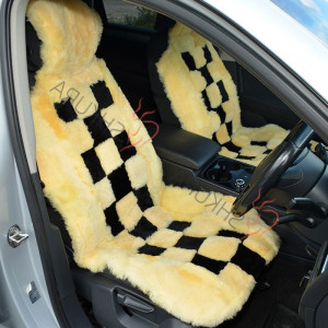 Sheared sheepskin car seat cover Yellow black 2 pcs Car accessory for men Fur Seat cover for women Merino Front seat cover car Gift for him