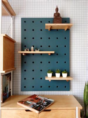 Pegboard organizer, plywood peg board shelf.