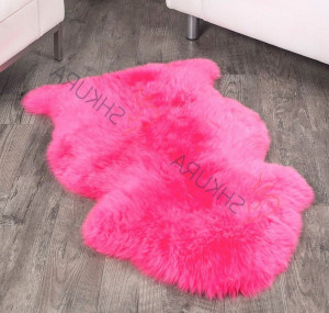 "Pink Sheep skin decorative rug short fur 43"" x 30""  Christmas gift Natural Throw Very thick rug Genuine leather Pelt Genuine sheepskin rug"