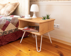 Plywood bedside table, nightstand with hairpin legs