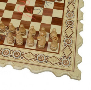 "22"" Chess set wood 3 in 1 Chess & backgammon board carved Checker board engraved Boyfriend gift Men gift holiday Ash Chess backgammon set"
