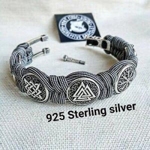 Silver 925 Sterling bracelet. Paracord bracelet. Viking protective amulet. Valknut. Helmet Horror.  Horror Helmet Fern Flower Square SVAROG