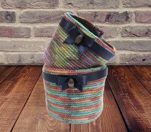 Set of two knitted baskets