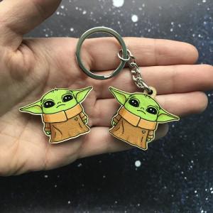 Baby Yoda (The Mandalorian) wooden brooch/pin and keychain/keyring