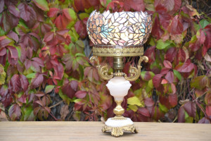 Stained glass openwork lamp Customized lampshade for a vintage base In a single exemplar