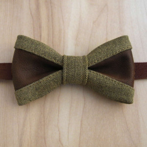 handmade classy bow tie mustard color fabric brown genuine leather olive khaki elegante men's accessory set khaki plaid pocket square