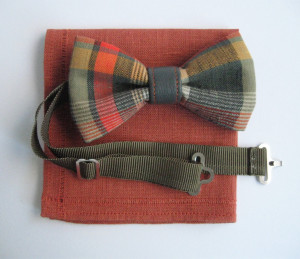 plaid pattern cotton bow tie khaki leather part flax handkerchief classy cloth set