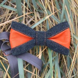 eyecatcher mens accessory set pretied bow tie of denim and orange leather parts color block khaki plaid pattern cotton pocket square cloth