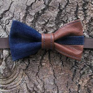 stylish pretied bow tie dark blue denim brown leather details