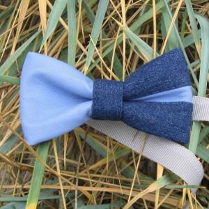 unusual accessory kit classic blue denim bow tie with light blue leather parts jean leather bowtie vivid color plaid handkerchief