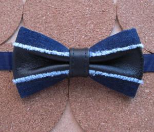 blue fringed denim bow tie men's accessory kit pretied handmade unusual bowtie black leather inserts ripped jean staple paisley handkerchief