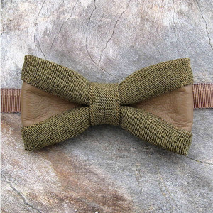 elegant bow tie olive mustard khaki costume fabric combo with leather