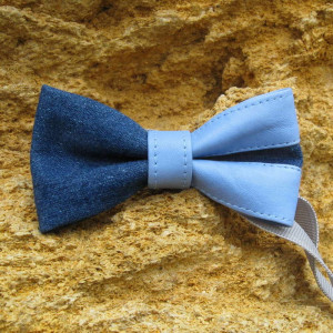 classic blue jean bow tie with leather inserts handcrafted men's fashion accessory set bright colors plaid handkerchief