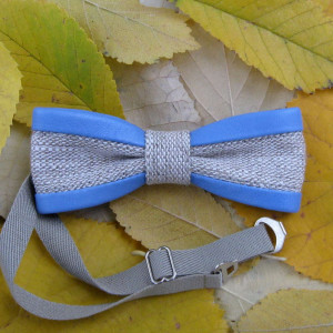 unisex set bow tie flax light blue color leather parts milky white batiste handkerchief rustic boho style fits to denim