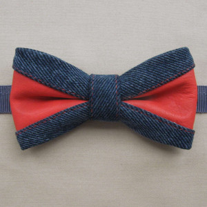 bold design red leather & denim bow tie accessory red color point set batiste classy pattern handkerchief