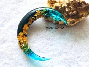 Crescent moon hair stick with black oak, blue resin and gold foil, Celestial hair stick, Moon Fork, Hair barrette, Astronomical bun holder