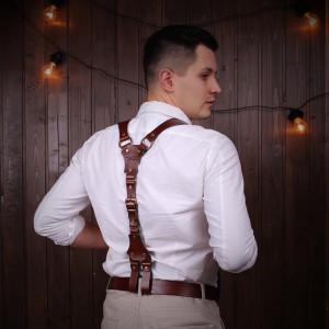 Handmade Suspenders, Sword belt, Leather Suspenders, Men Suspenders, Personalized Suspender,  Wedding Groom Suspenders, Gift for barber man