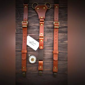 Leather Suspenders, Wedding Suspenders, Men Suspenders, Groomsmen Suspenders, Rustic Suspenders, Rustic Wedding, Red Suspenders