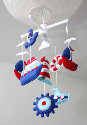 MARINE theme mobile, boat mobile, red navy white, sailor mobile, sea mobile, babyshower gift, first mobile, baby boy mobile, lighthouse