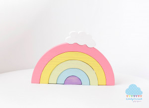 RAINBOW wooden toy, pastel rainbow, building toy, scandi toy, modern nurcery, gift for newborn, girl gift, babyshower gift, first toy, cloud