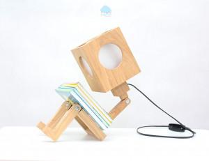 ROBOT oak wooden nursery night lamp. 3 positions! Wood kidsroom eco economy lamp. Boy Girl gift. Natural wood nursery night lighting