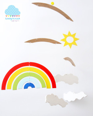 RAINBOW mobile / clouds mobile / wooden mobile / wooden toy/ crib mobile / nurcery decoration / modern nurcery / baby mobile / babyshower