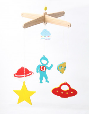 COSMIC space theme wooden mobile, bright colors mobile, crib stroller toy, astronaut, star, planet element. Ready to ship!