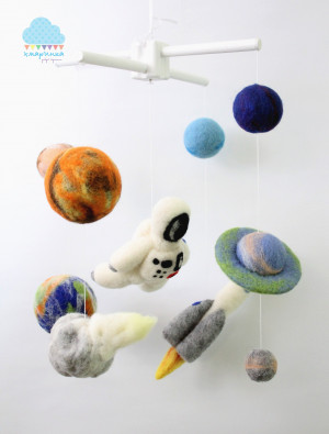SPACE baby mobile Felt planets mobile Rocket crib mobile Astronaut mobile Solar system mobile Boy babyshower gift Space themed nurcery gift