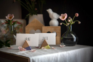 Name Card Holders // a set of 30 Triangular Wooden Place card holders // Perfect Modern Wedding Reception // free shipping