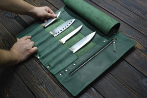 Chef Knife Roll, Knife case, Green bag, Leather holder, Bag for knives,Tool bag, Anniversary Gift, Gift for a man, Knife roll leather