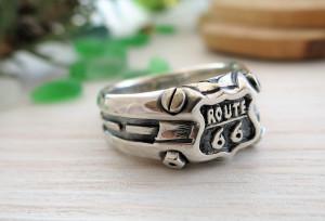 Signet ring Route66 - for men - biker's ring